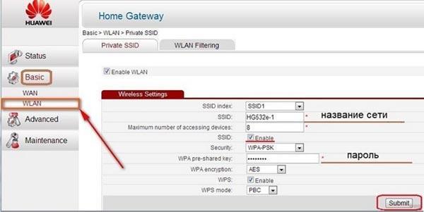 Настройки ADSL домена