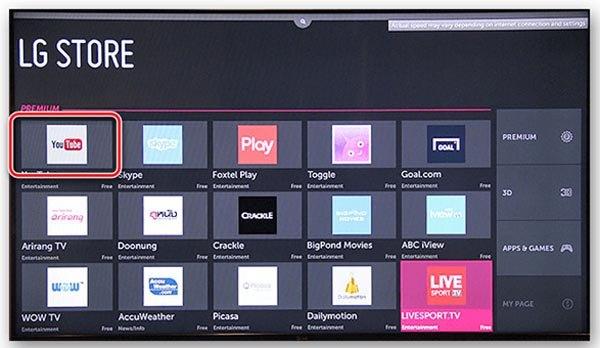 Поиск YouTube на LG Store