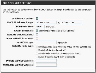 Настройка DHCP в D-Link