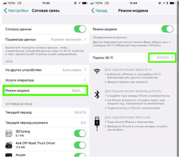 Включение мобильного модема на Айфоне