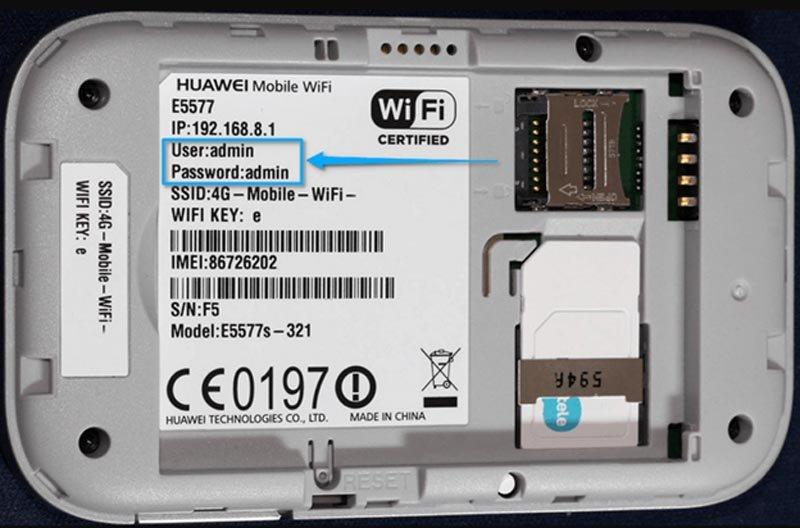 Этикетка роутера Huawei