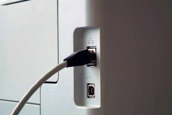 Подключение разъема LAN в принтер