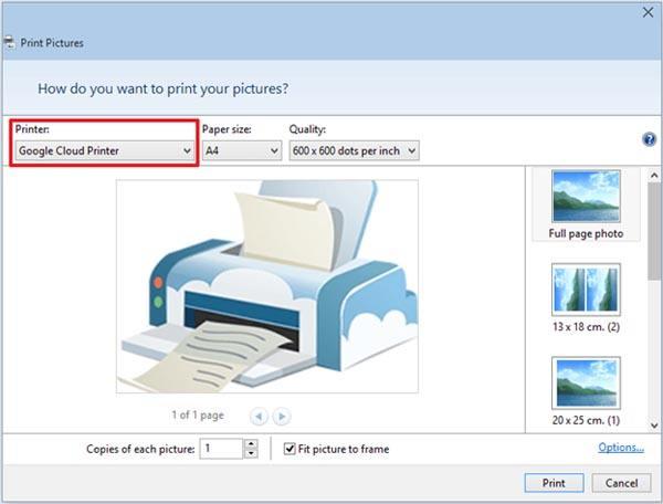 Печать при помощи Google Cloud Printer