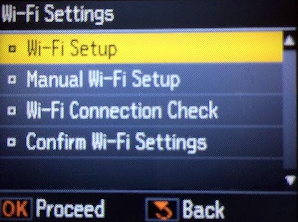 Настройка wifi в принтере